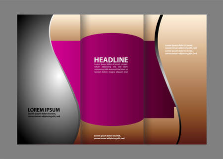Tri-fold brochure empty vector template design print, booklet or flyer bright trifold
