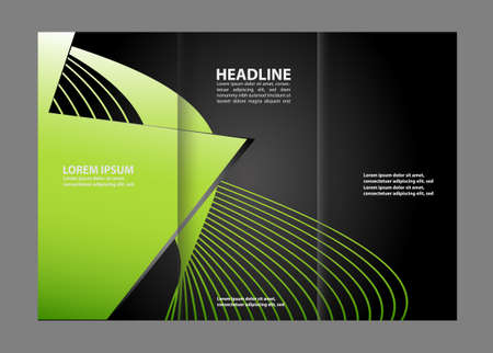 magazine stack: Tri-fold brochure template design with orange color Illustration