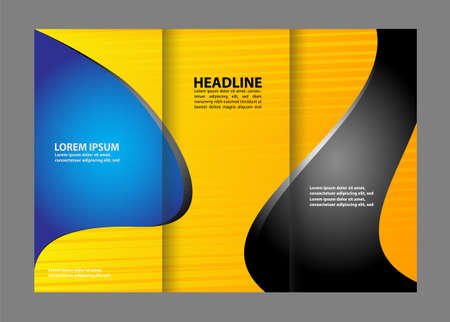 book spreads: Vector brochure template design with blue elements.