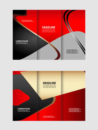 Tri-fold brochure empty vector print design template, tri-fold booklet or flyer bright Illustration