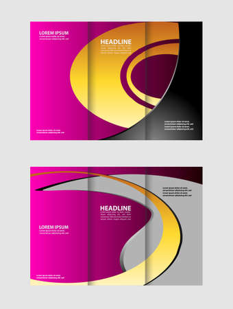 magazine stack: Tri-fold brochure template business, tri-sided template design, mock-up cover