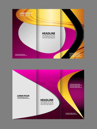 magazine stack: Three fold business brochure template, corporate flyer or cover design in purple colors