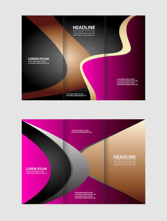 magazine stack: Tri-fold brochure template business, two-sided template design, mock-up cover