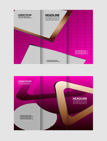 magazine stack: Tri-fold brochure template business, two-sided template design, mock-up cover in blue colors