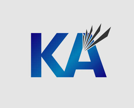 ka: KA negative space blue letter Illustration