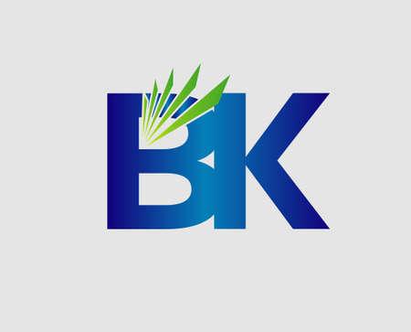Elegant black and gold alphabet letter B and K. vector illustration