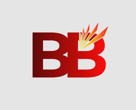 Elegant black and gold alphabet letter B and B. BB Vector illustration