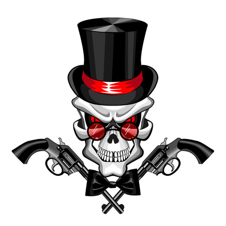 Skull wearing a hat with a pistol