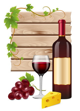 wine and cheese: Wine grapes and cheese Illustration