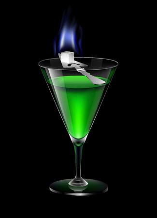 ajenjo: Vaso de absenta con la quema de azúcar al