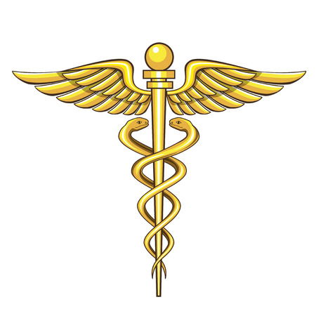 caduceus snake with stick: caduceus medical symbol Illustration
