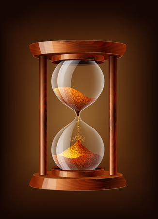 hourglass: Transparent vector sand clock with wooden texture