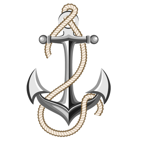 silver anchor with rope