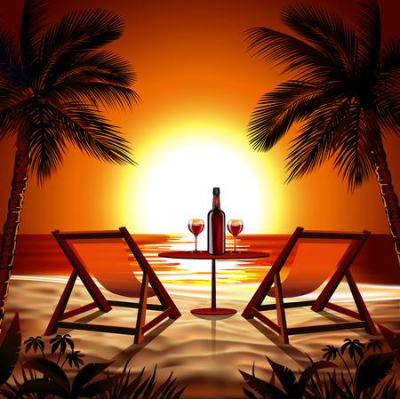 strandstoel: Strand bij Zonsondergang Stock Illustratie
