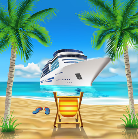 cruise travel: Tropical beach Illustration