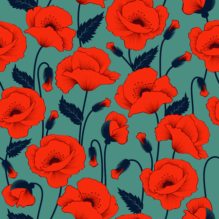 Poppy seamless pattern Vectores
