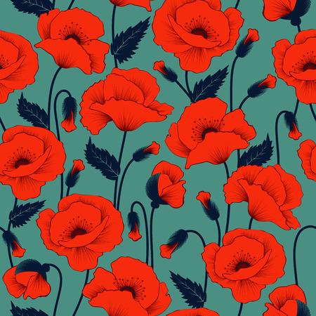 Poppy seamless pattern Illustration