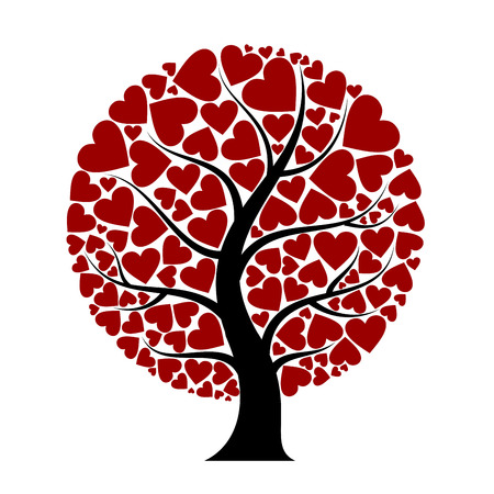 floral heart: heart tree Illustration