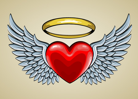 hearts: red heart with angel wings and halo