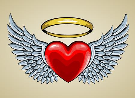 engel tattoo: rotes Herz mit Engel Fl�gel und Halo Illustration