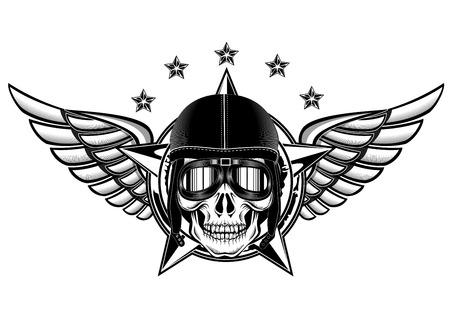 insignia: Ilustración del vector del cráneo del kamikaze Vectores