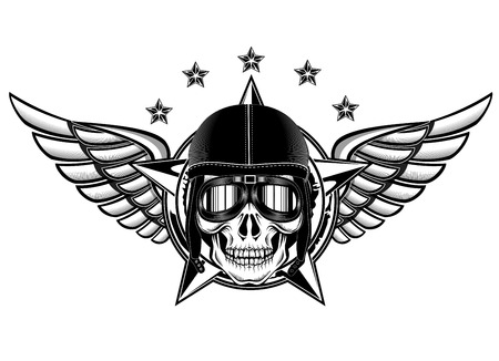 Vector illustration of skull of kamikaze Ilustrace