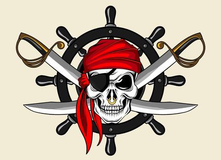 calavera pirata: cráneo del pirata y de la rueda