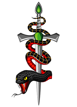 snake and dagger Illustration