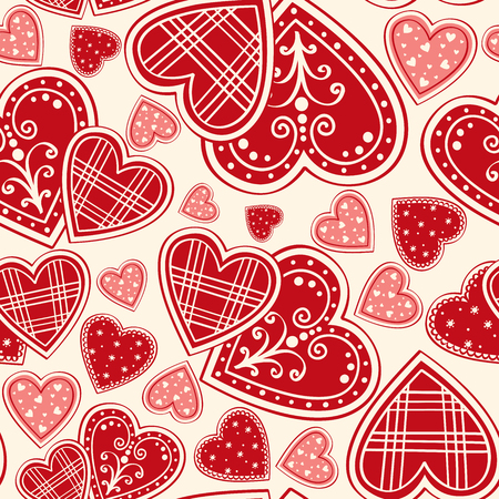red hearts seamless background Ilustração