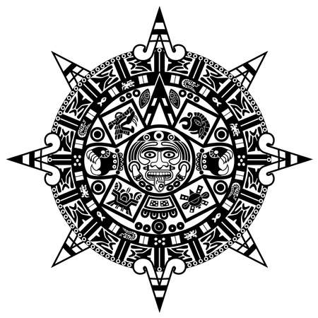 Mayan calendar on white background. 矢量图像