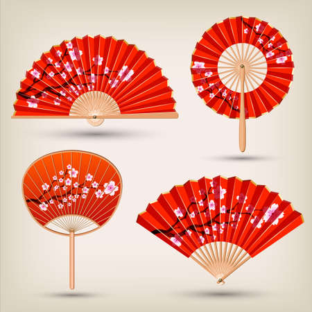 Japanese and Chinese Hand fans set .Traditional oriental red and gold hand fan collection. Vector illustration.