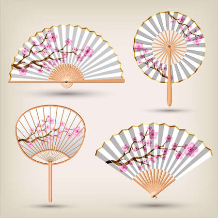 Japanese and Chinese Hand fans set .Traditional oriental white and gold hand fan collection. Vector illustration.