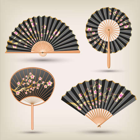 Japanese and Chinese Hand fans set .Traditional oriental black and gold hand fan collection. Vector illustration.