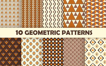 Set of geometric seamless pattern. 免版税图像 - 150937948