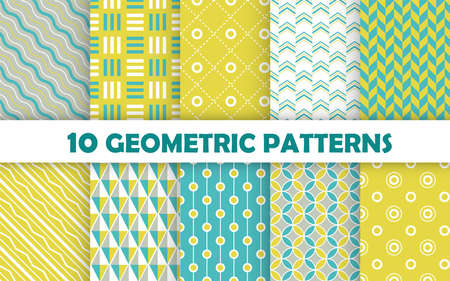 Set of geometric seamless pattern. Vetores