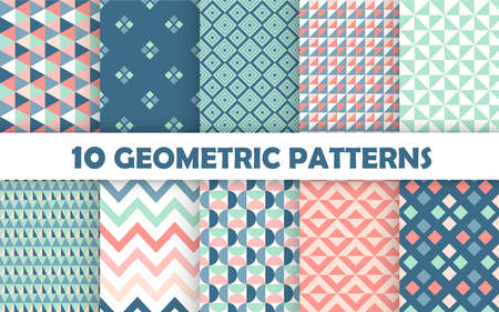 Set of geometric seamless pattern.