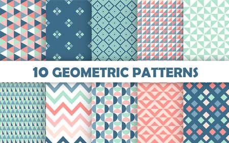 Set of geometric seamless pattern. 免版税图像 - 150937954