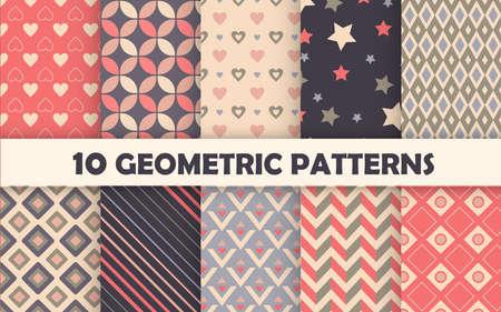 Set of geometric seamless pattern. 免版税图像 - 150937993