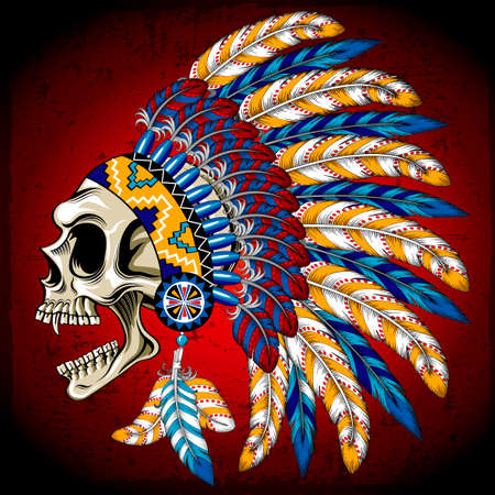 Vector illustration Indian skull.