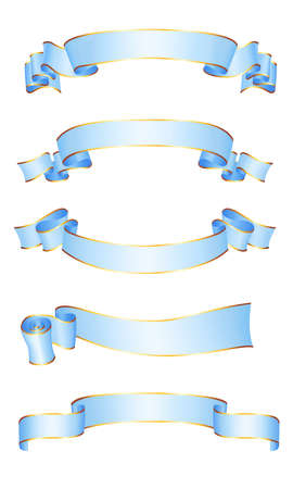 Realistic blue vector ribbons with a gold glossy stripe for your design project 免版税图像 - 151416320