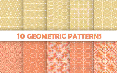 Collection of seamless geometric ornamental vector patterns. Vintage geometric backgrounds. 免版税图像 - 151670299