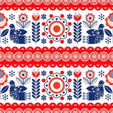 Scandinavian folk art seamless pattern. The Nordic style. Vector illustration.