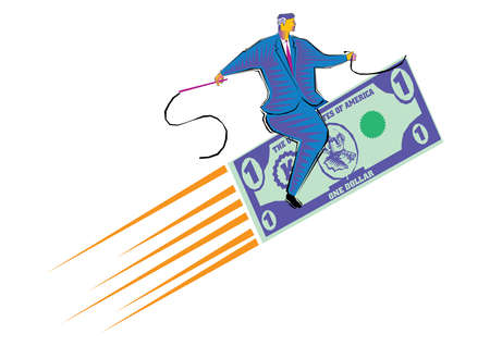 Clipart of Riding the dollar - Businessman flying carpet made of dollar currency