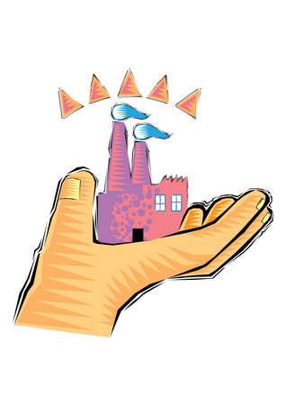 Clip Art of Hand holding a sand castle isolated on a white background