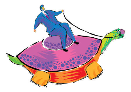 abstract Clipart of Businessman riding a turtle vector