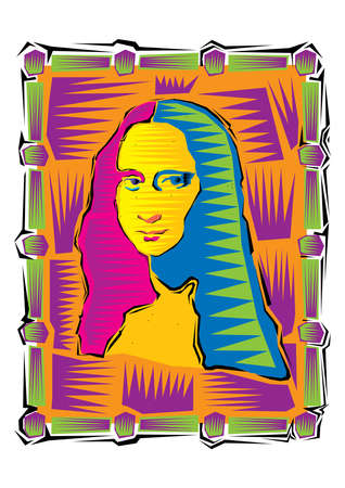 Illustration of the Mona Lisa. Icon of Gioconda, the artist Leonardo Davinci. Logo of a famous work 向量圖像