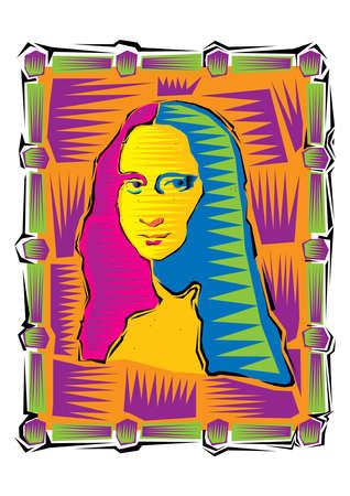 Illustration of the Mona Lisa. Icon of Gioconda, the artist Leonardo Davinci. Logo of a famous work Illustration