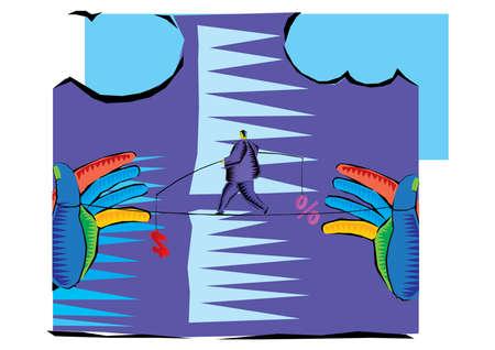 Clipart of Businessman Walking the tight rope vector Ilustração