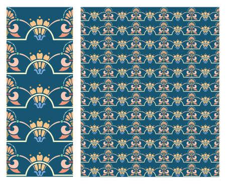 Archivio Fotografico - Vettore di riserva del modello decorativo senza cuciture floreale, uso per fondo piastrellato, colorato,