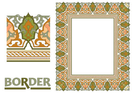 decoration Borders - Tiled frame in plant leaves and flowers Framework Decorative Elegant ornamental style